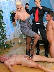 Sexy Mean Dominatrix Cunts Terrorize Man Slaves With Clothing Pins