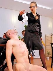 Dominatrix Boss Humiliates Staff At Bdsm Baord Meeting